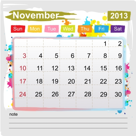 Calendar November 2013 , Abstract art style Vector