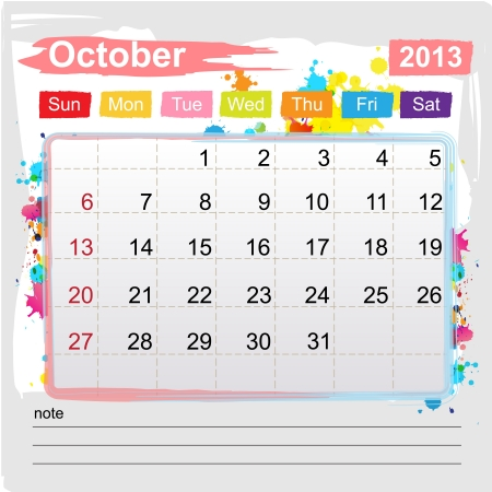 Calendar October 2013 , Abstract art style Stock Vector - 16219981