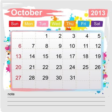 Calendar October 2013 , Abstract art style Stock Vector - 16219981