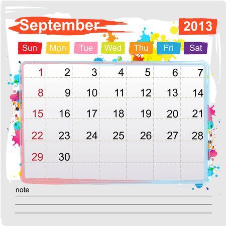 Calendar September 2013 , Abstract art style Stock Vector - 16219985