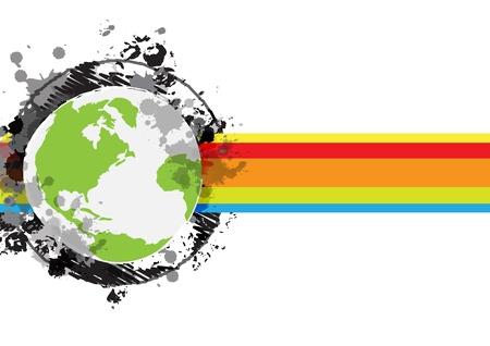 drawing sketch globe banner design Stock Vector - 16220006