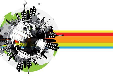 tekenen wereldwijde stedelijke banner ontwerp Stock Illustratie