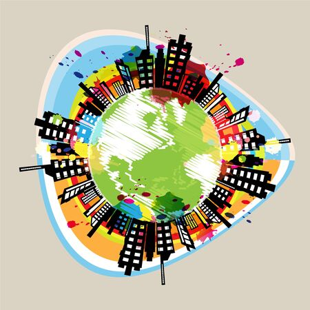earth building circle drawing design Stock Vector - 16219990