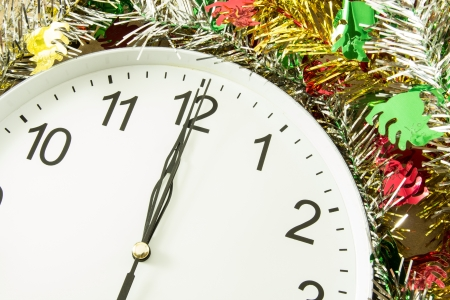 second meal: twelve oclock with christmas decoration Stock Photo