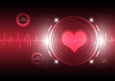 elettrocardiogramma: cardiografo tecnologia Vettoriali