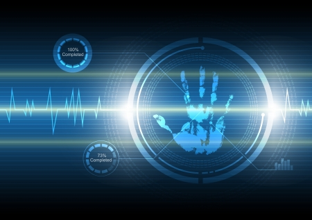 scannen handafdruk technologie achtergrond Stock Illustratie