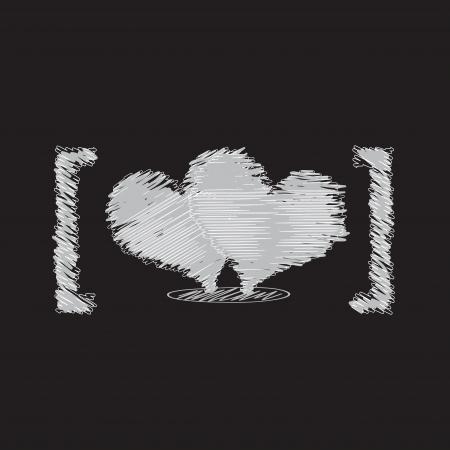 black wedding couple: heart sketch design Illustration