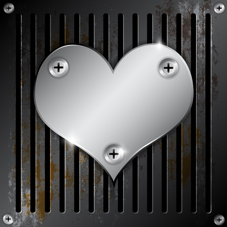 hard cover: metallic heart with grille rusty