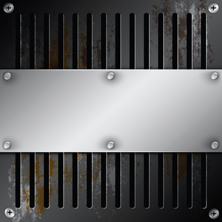 grille: metallic label with grille rusty
