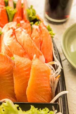 fresh salmon in sashimi set photo
