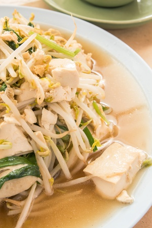 bean sprouts: fried bean sprouts mix tofu : thai and chinese food Stock Photo