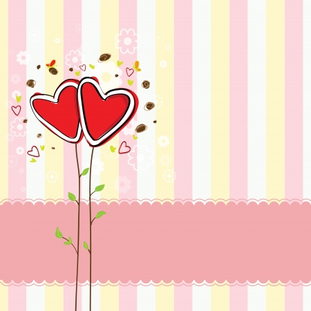 cute heart tree and sweet background Vector