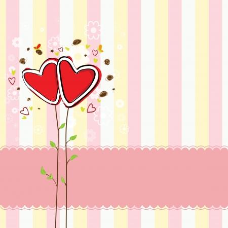 leuk hart boom en zoete achtergrond Stock Illustratie