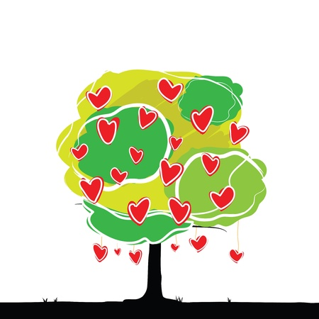 passion ecology: heart tree : love concept Illustration