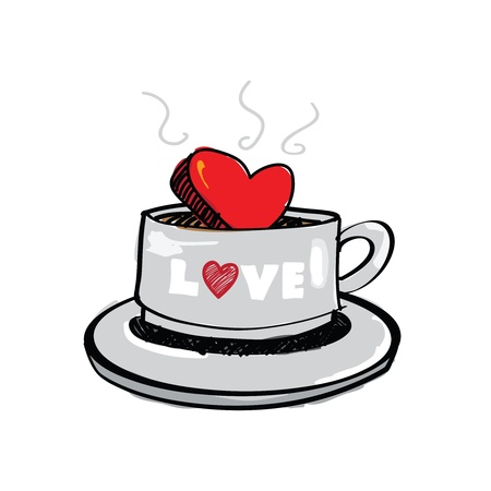 heart sketch: sketch drawing heart in coffee cup Illustration