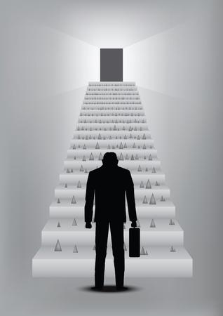 obstaculo: empresario sienta fallar con camino al éxito