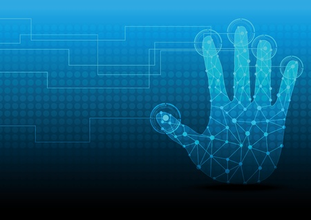 handpers knop op touch screen Stock Illustratie