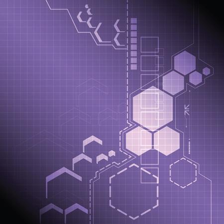 テクノロジー: 抽象的な技術背景デザイン  イラスト・ベクター素材