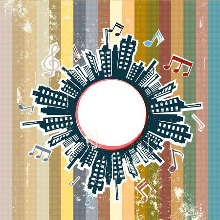 歌: 都市グランジにレトロな音楽  イラスト・ベクター素材