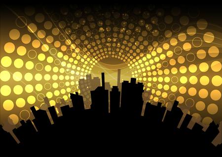 multimedia background: city celebration Illustration