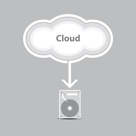 cloud computing into harddrive Stock Vector - 22439548