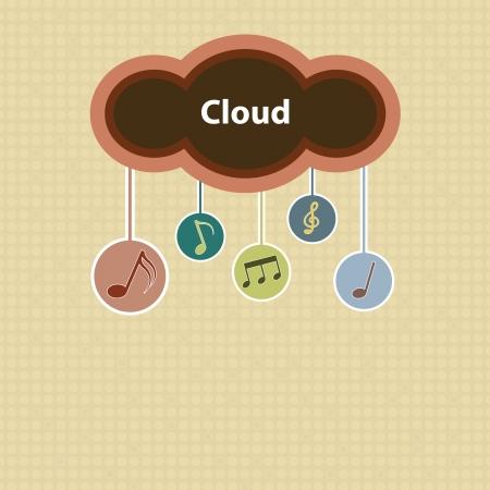 music cloud retro style Stock Vector - 22439680