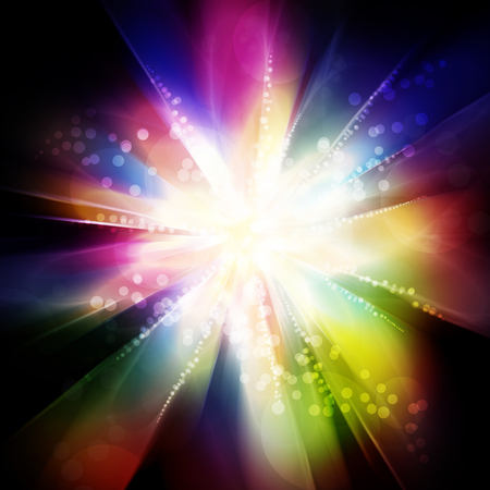 cosmic rays: fantastic colorful light explosion Stock Photo