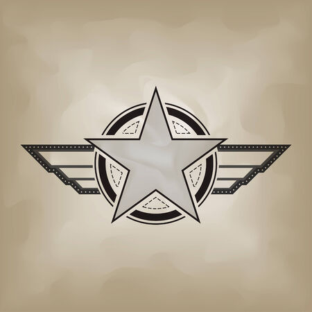 military and war icons: star symbol on crumple paper Illustration