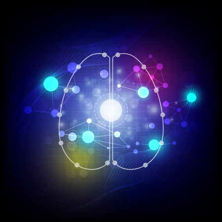 abstract digital brain background Vector