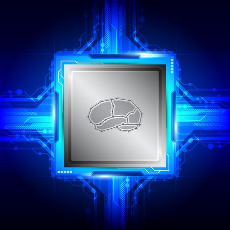 brain symbol on computer processor