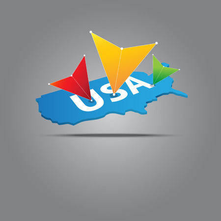 marked: multicolored arrow marked on usa map Illustration
