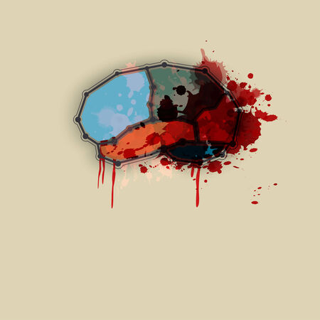 brutal: brain with blood abstract design