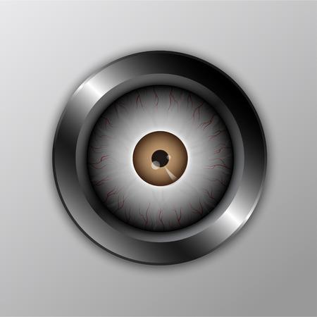 security technology: metallic eyeball button : security technology concept