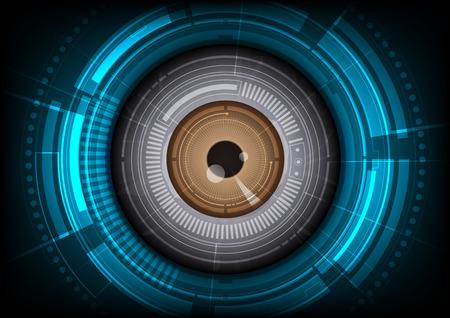 oči: Vektorové oční bulvy budoucí technologii, bezpečnostní koncept pozadí