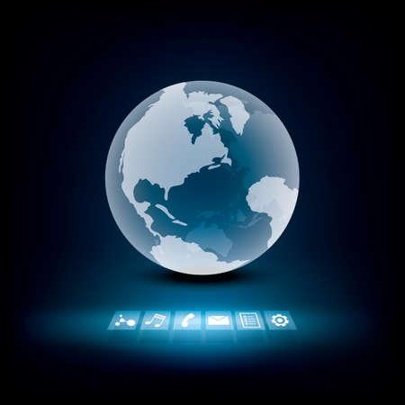 globális kommunikációs: globális kommunikációs technológia Illusztráció