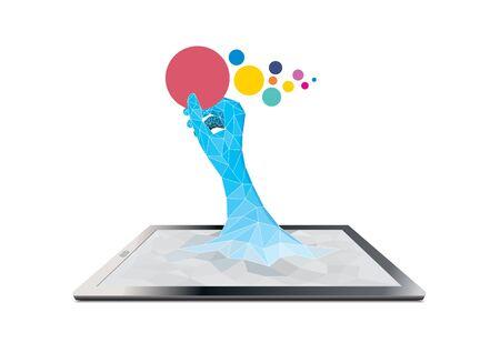 computador tablet: tablet computer with hand holding label Ilustração