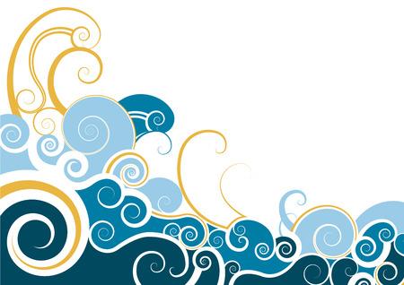 waves ocean: vector swirl decorative background design