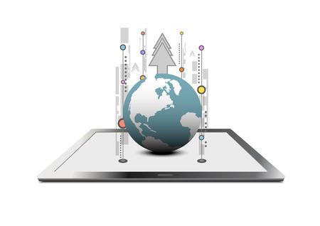 globális kommunikációs: vektor globális kommunikációs technológia Illusztráció