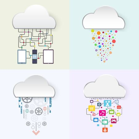 internet connection: internet of things, business technology cloud concept, vector illustration Illustration