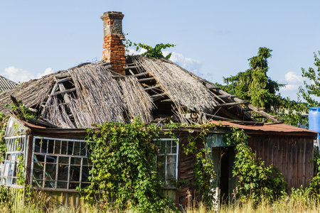 Old farmhouse shattered which, vintage