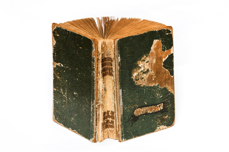 Old opened book on white. Stock Photo
