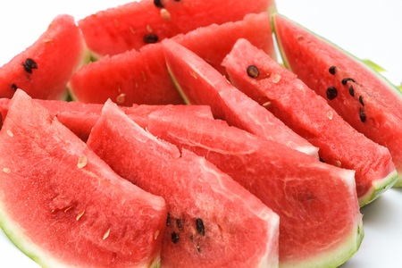 Cut watermelon on white background.