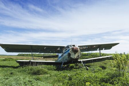 Old broken soviet plane in nature