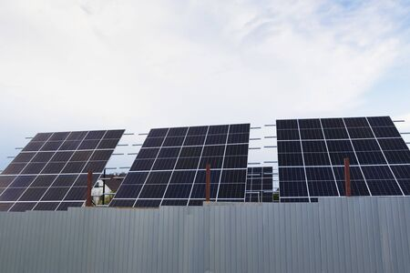 Solar panels or photovoltaic converters in a residential complex.