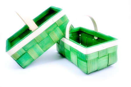 Two empty green basket