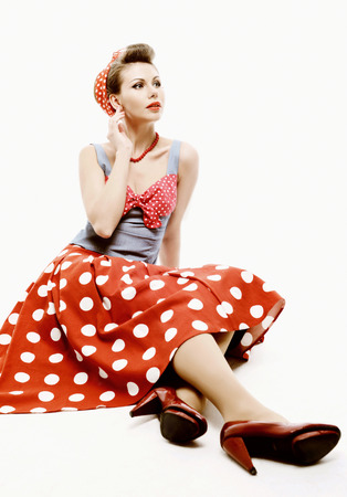 Pin-up young woman in vintage American style photo