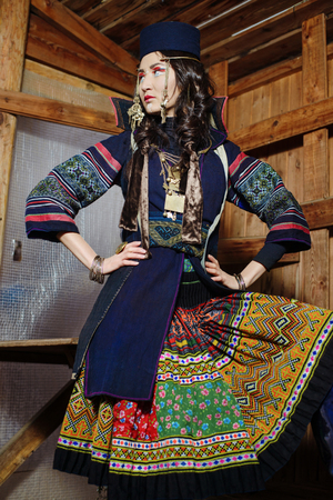 neckband: Young Girl in National Northen Vietnam Tribal Costume
