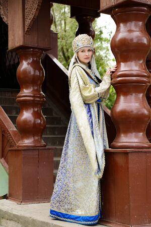 kokoshnik: Young beautiful woman in traditional Russian costume Stock Photo
