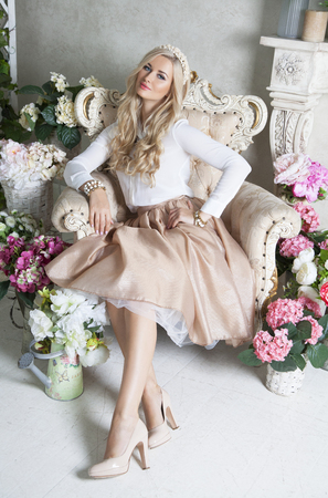 studioshoot: Young beautiful girl posing at light studio