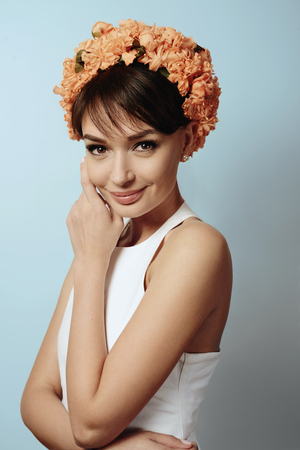 Young beautifil girl in the flower crown